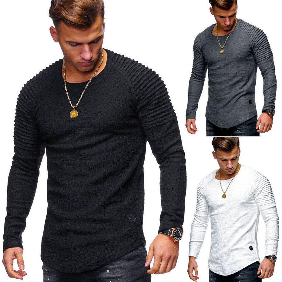 Zogaa 2019 New Men Long-sleeved   Polo   Shirt Guys Boys Round Neck Slim Solid Color   Polo   Shirt Slim Striped Fold   Polo   Shirt Tops