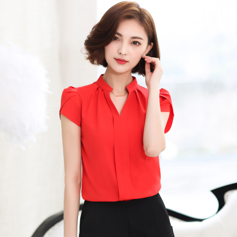 908c53bc 2016 Summer Short Sleeve Shirt women Casual Office Formal Blouses New  Fashion solid v neck top 58G 25-in Blouses & Shirts from Women's Clothing  on ...