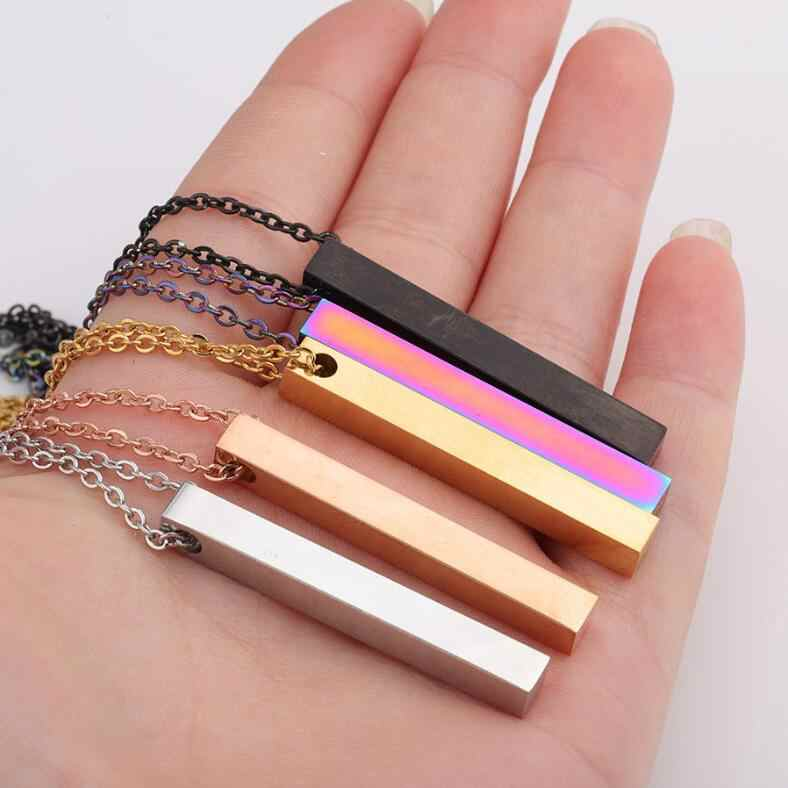 5pcs 5*40mm 3D Bar Necklace Mirror Polish 316L Stainless Steel Unisex Necklace Jewelry 5 Colors with 45cm Long Chain Best Gifts
