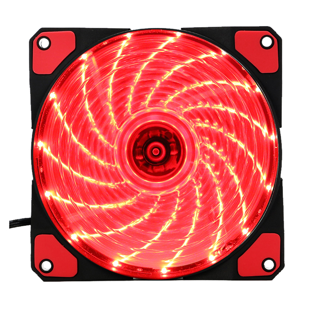 15 Lights LED PC Computer Chassis Fan Case Heatsink Cooler Cooling Fan DC 12V 4P 120*120*25mm red 2pcs lot gdstime 3pin cooling cpu heatsink fan led red light for computer pc case 92 x 25mm