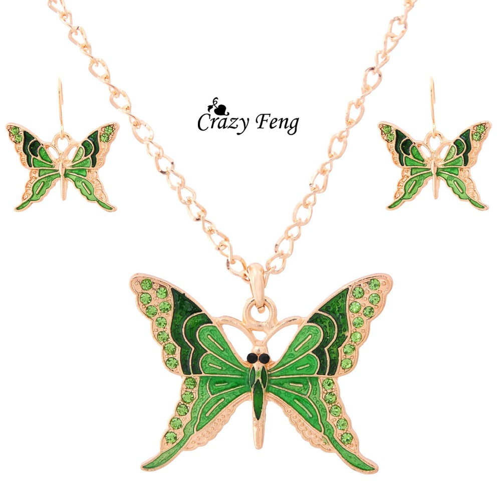 Turkish Jewelry Chain Necklace Earrings Sets Goldcolor Crystal Cute  Butterfly Pendant Jewelry Sets For