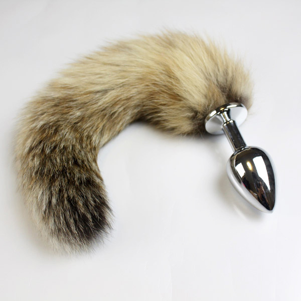 Free Shipping 25Cm Tail Cat Fox Tail With Anal Butt Plug Dildo Sex Toys For Women Men -9017
