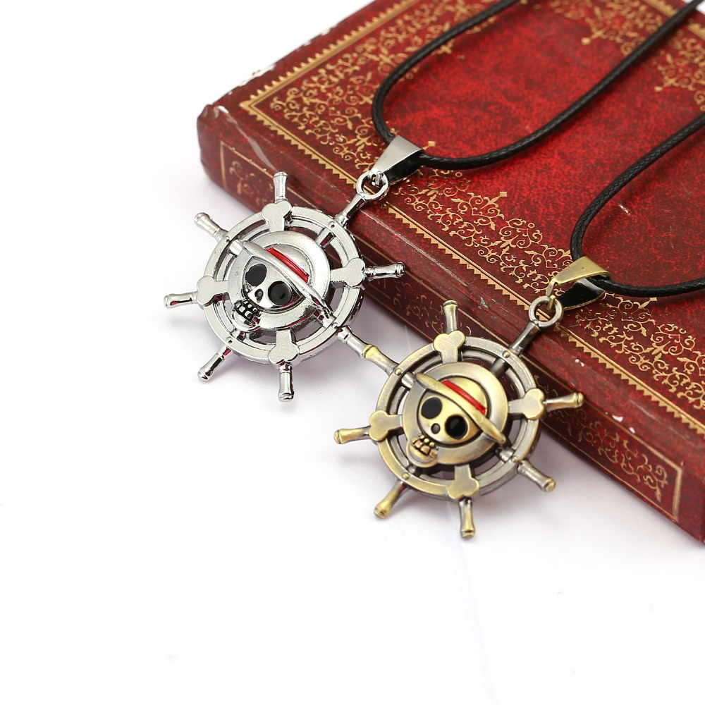 10pcs/lot Anime one piece pendant necklace cosplay choker necklaces jewelry kids boys birthay gift for men silver bronze pendant
