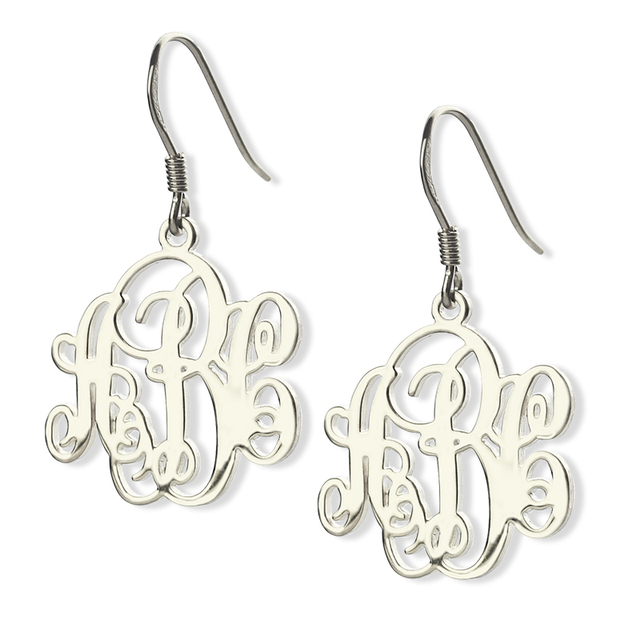 Whole Sterling Silver Vine Monogram Earrings Personalized Any Initials Up To 3 Letters Name Monogrammed