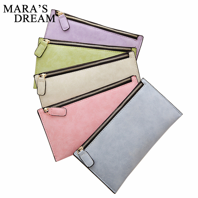Mara's Dream 2018 Women Wallets New Long Style Solid Color Zipper Candy Color Female wallet card holder coin purse Holders mooistar2 3001 women solid color coin purse long wallet card holders handbag