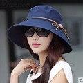 Мода вс шляпы УФ Складной ведро Бабочка узел с широкими полями, Летние шляпы для женщин Пляж Cap Головные Уборы