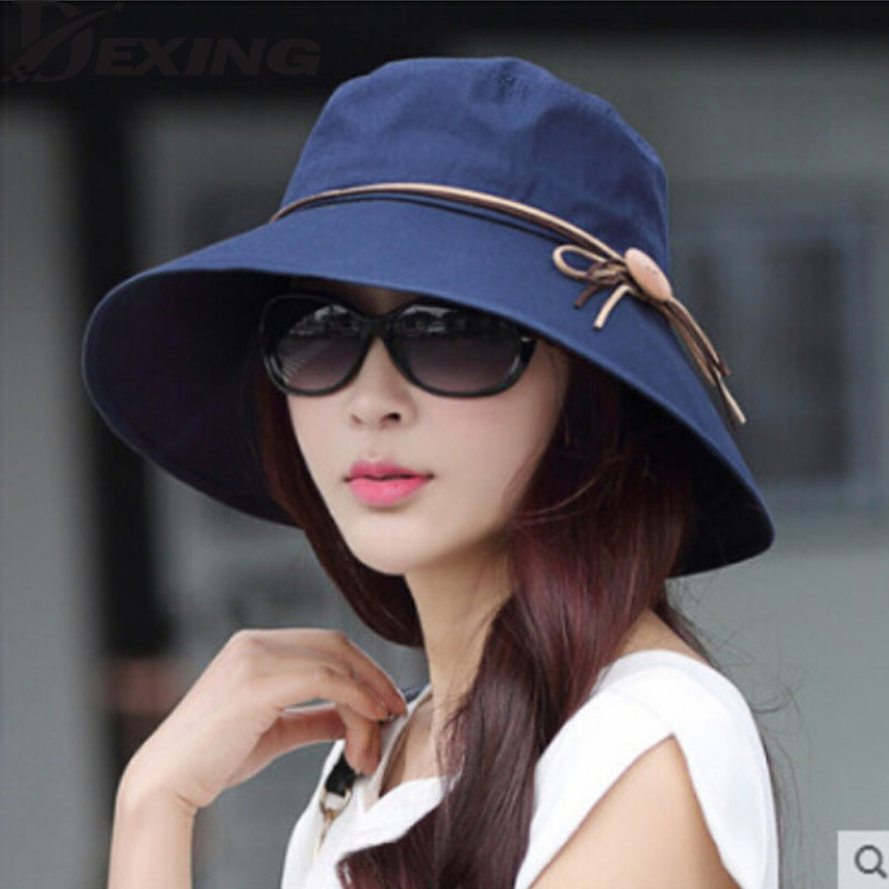 4830ffe0b50b5 כובעי שמש -  Dexing Elegant sun hats Foldable Butterfly knot wide brim  Floppy Summer hats for women Outdoor UV Protection