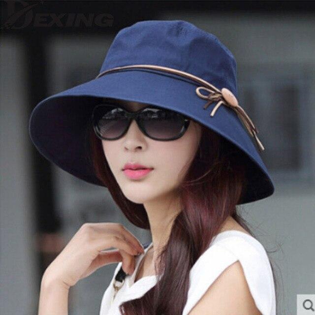 Dexing Elegant sun hats Foldable Butterfly knot wide brim Floppy Summer  hats for women b777fa35cb17