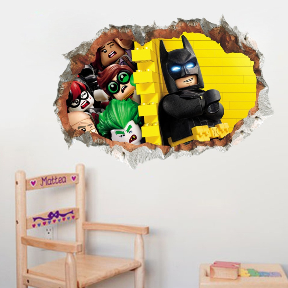 %  PVC Funny Batman Cartoon wall stickers kids room bedroom 3d Through wall decals home decor Mural Poster Boy's Birthday Gift