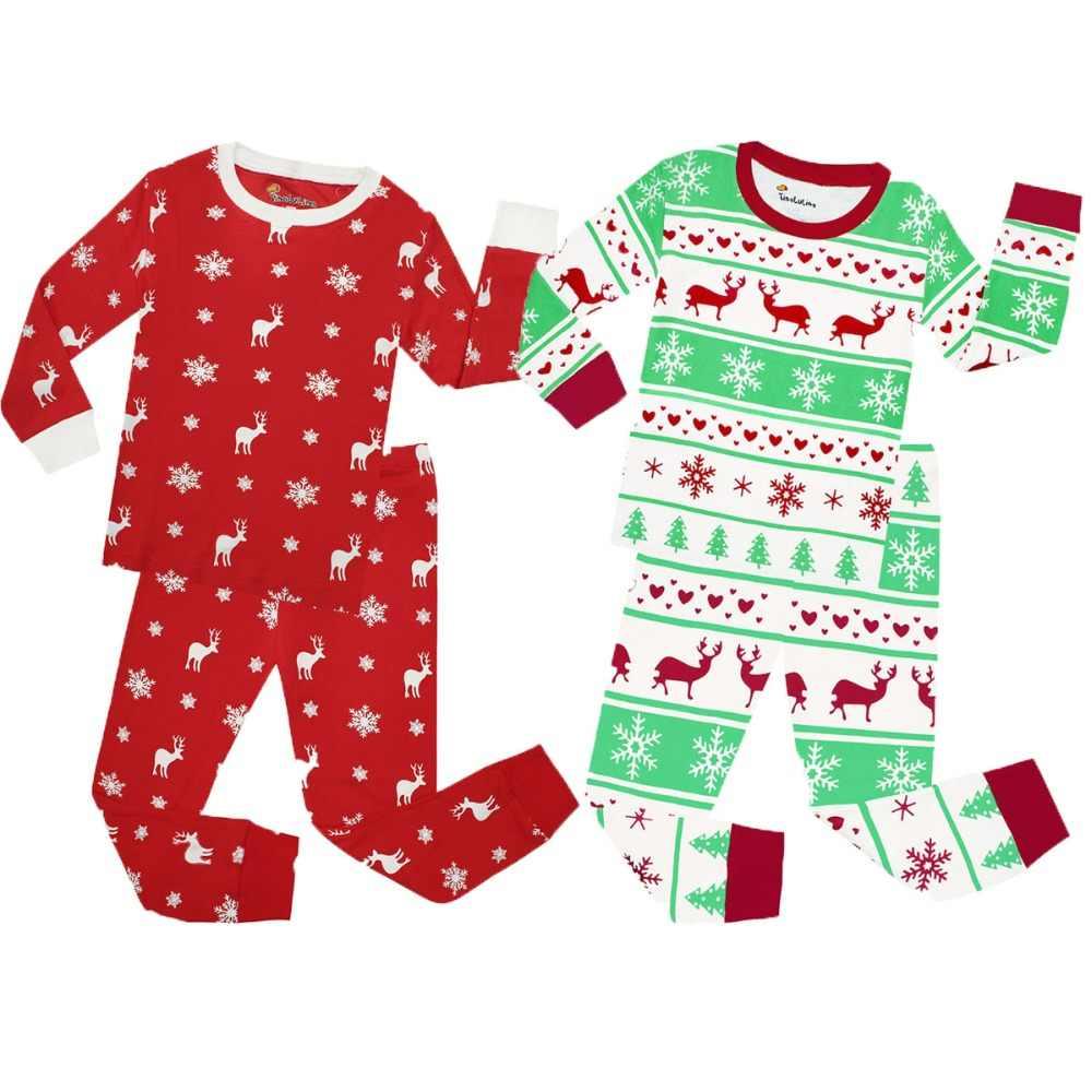 С длинным рукавом из хлопка для мальчиков Рождественская Пижама детская  одежда для сна для девочек Рождественская 1e5acafdcc469