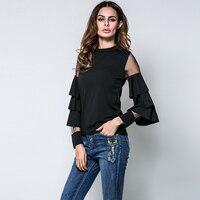 האביב חדש אופנה נשים חולצה קיץ חולצות נקבה Sheer סלסולים שכבה Mesh טלאים שרוול ארוך חולצות טי Slim נשים שרוול