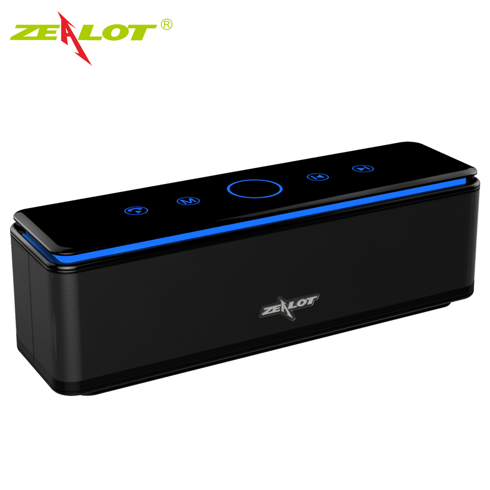 ZEALOT S7 Touch Control Bluetooth Wireless Speakers 4 Drivers with LED Bar Aux Audio TF Card