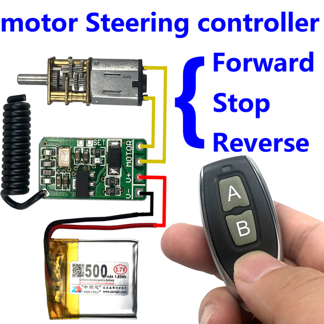 3.7 v 4.5 v 9 v 12 v มอเตอร์ย้อนกลับพวงมาลัย Controller โมดูลรีโมทคอนโทรลไร้สาย 433 mhz เครื่องส่งสัญญาณ rf
