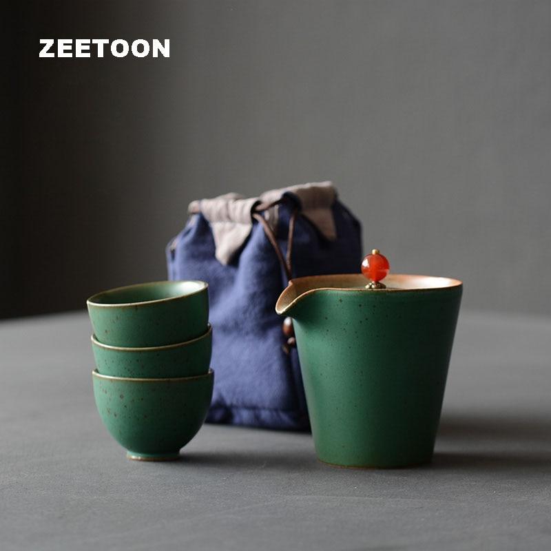 Zen Japanese Portable Travel Quick Cup Ceramic Coarse Pottery Kung Fu Tea Set 3 Teacup 1 Teapot with Bag Creative Home Decor New