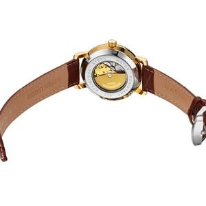 Image 5 - Luksusowa marka szkielet złoty automatyczny mechaniczny mężczyzna zegarek brązowy skórzany pasek luksusowa moda zegarek montre homme