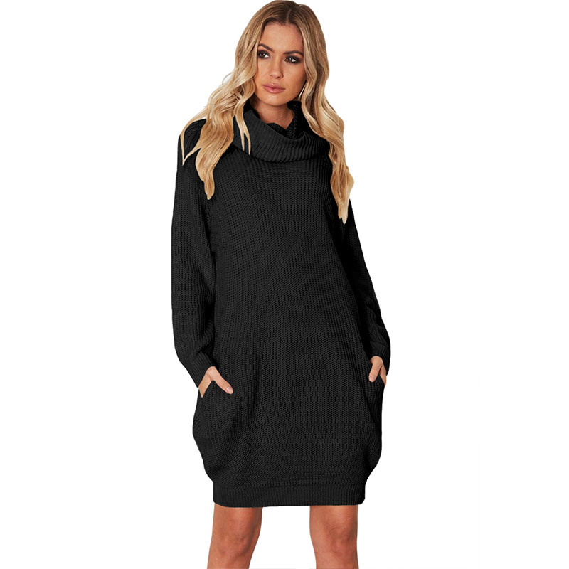 New Fashion Sweater Dresses Winter Women Black Heap Collar