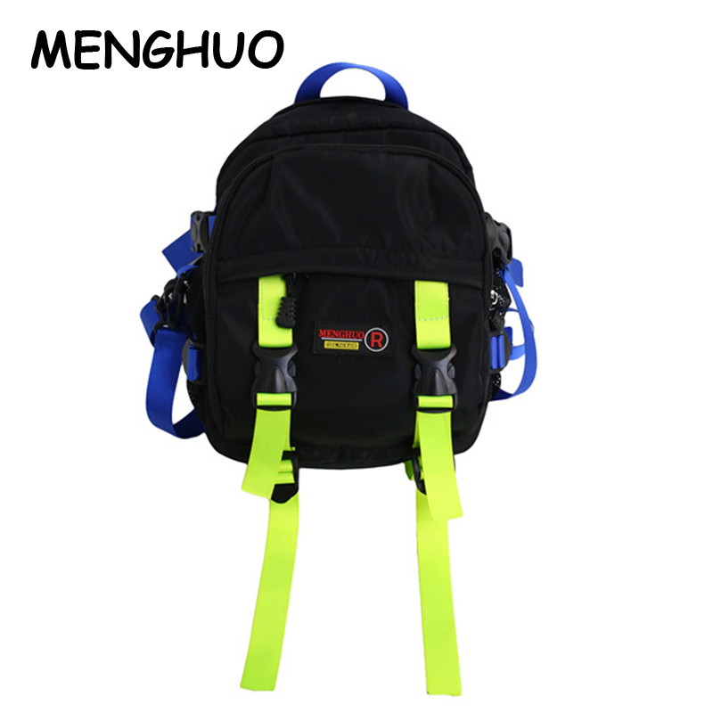 Menghuo  New Designer Nylon Fashion Unisex Backpack Mini Female Shoulder Bag Multi-Function Small Backpack Travel Bags