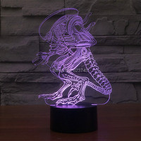10pcs Lot 7 Color Changing Arcylic 3D Alien Monster Baby Sleep LED Night Light Of Lamparas