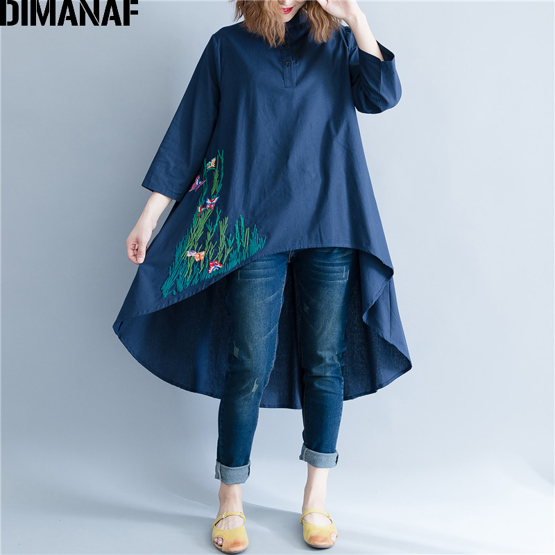 DIMANAF Women Blouse Shirt Long Sleeve Linen Thin Top Autumn Embroidery Femme Lady Large Loose Big Clothing Casual Plus Size 2XL