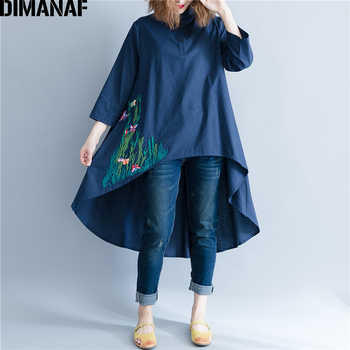 DIMANAF Women Blouse Shirt Long Sleeve Linen Thin Top Autumn Embroidery Femme Lady Large Loose Big Clothing Casual Plus Size 2XL - DISCOUNT ITEM  39% OFF All Category
