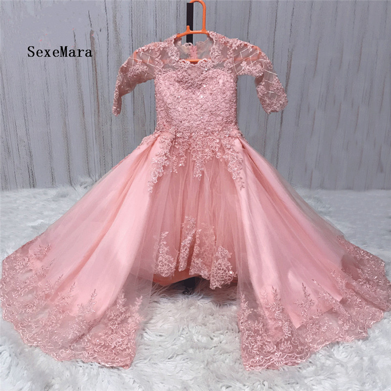 New Arrival Flower Girl Dresses for Weddings Lace Applique Beaded Little Girls Clothes Vestido De Daminha Detachable Train