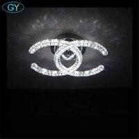 Modern Led Crystal Chandeliers K9 Crystal Living Room Bedroom Ceiling Mounted Lustres Lighting Led Chandelier Ceiling