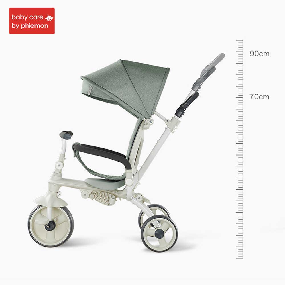 3-em-1 crianças triciclo carrinho de criança dobrável equitação carrinho de carro de bicicleta ajustável infantil carrinho de três rodas 1-3 anos