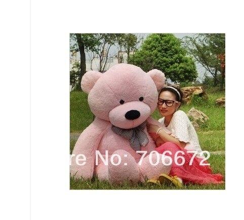 New stuffed pink teddy bear Plush 140 cm Doll 55 inch Toy gift wb8454 stuffed animal teddy bear red stripes cloth bear about 55 inch plush toy 140 cm bear throw pillow doll wb521