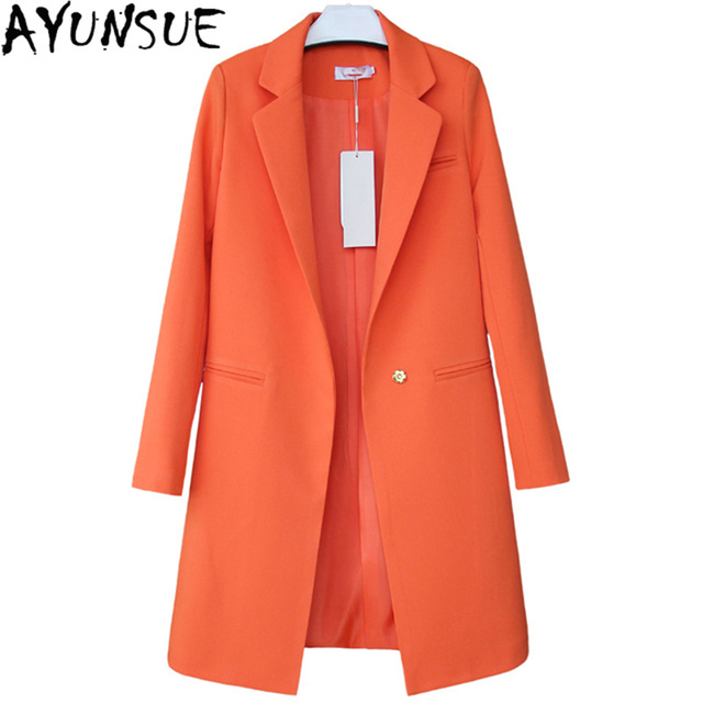 b2fb87e42 US $35.2 54% OFF|2019 Hot Sale Women Blazers And Jackets Spring Autumn  Casual Long Women Suits Wide Waisted Solid Female Jacket Plus Size LX95-in  ...