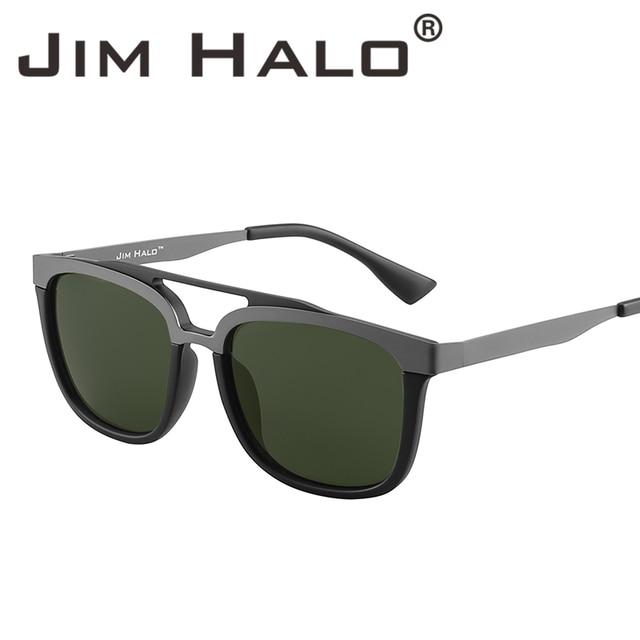 99e67e3392d Jim Halo Vintage Browline Stainless Steel Rectangle Double Bridge Sunglasses  Men Women Sun Glasses Brand Designer Fashion Oculos