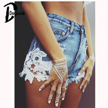 DayLook 2016 Summer Style Shorts Women Jeans Lace Floral Button Ripped Denim Shorts Mini Plus Size S-XXL Short Feminino