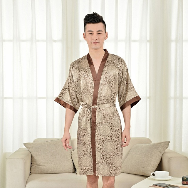 New Arrival Men Pajamas Imitation Silk Pijama Robes Sleepwear Sets Robe Short-sleeve Bathrobes Homeware Clothes Coffee One Size