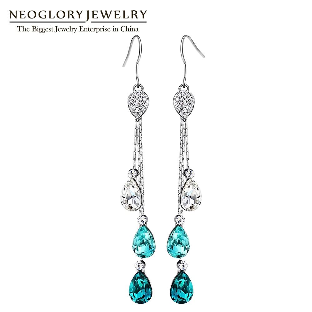 Neoglory Blue Österrikisk Crystal Rhinestone Lång Tassel Boho Ljuskrona Dangle Drop Örhängen För Kvinnor Brud Smycken 2018 JS9 B1