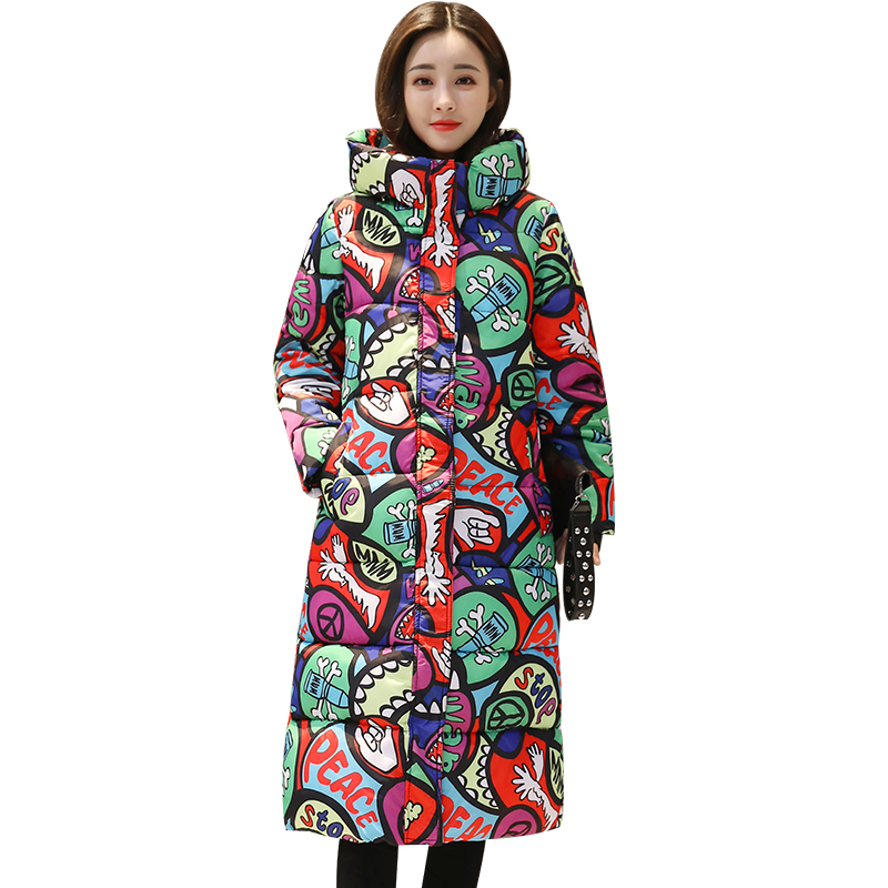 Womens Down Cotton Jackets 2017 New Ladies Long Winter Warm Coats Women Hooded Long Sleeve Floral Print Cotton-Padded Jacket