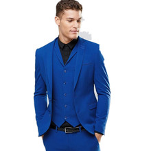 Custom Made Blue Men's Wedding Prom Suits 3 Pieces Best Man Bridegroom Tuxedos Two Button Blazer Handsome Dinner Costumes