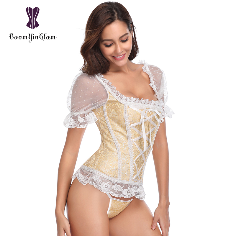 Fashion Princess Style Dance Wear Costumes Women Lingerie Body Shapewear Lace   Corset   Top Short-Sleeve   Corsets   And   Bustiers   943#