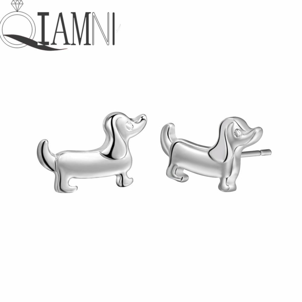 QIAMNI Boho Chic Lovely Dachshund Sausage Dog Animal Stud Earrings Women Girls Christmas Kids Pet Lover Gift