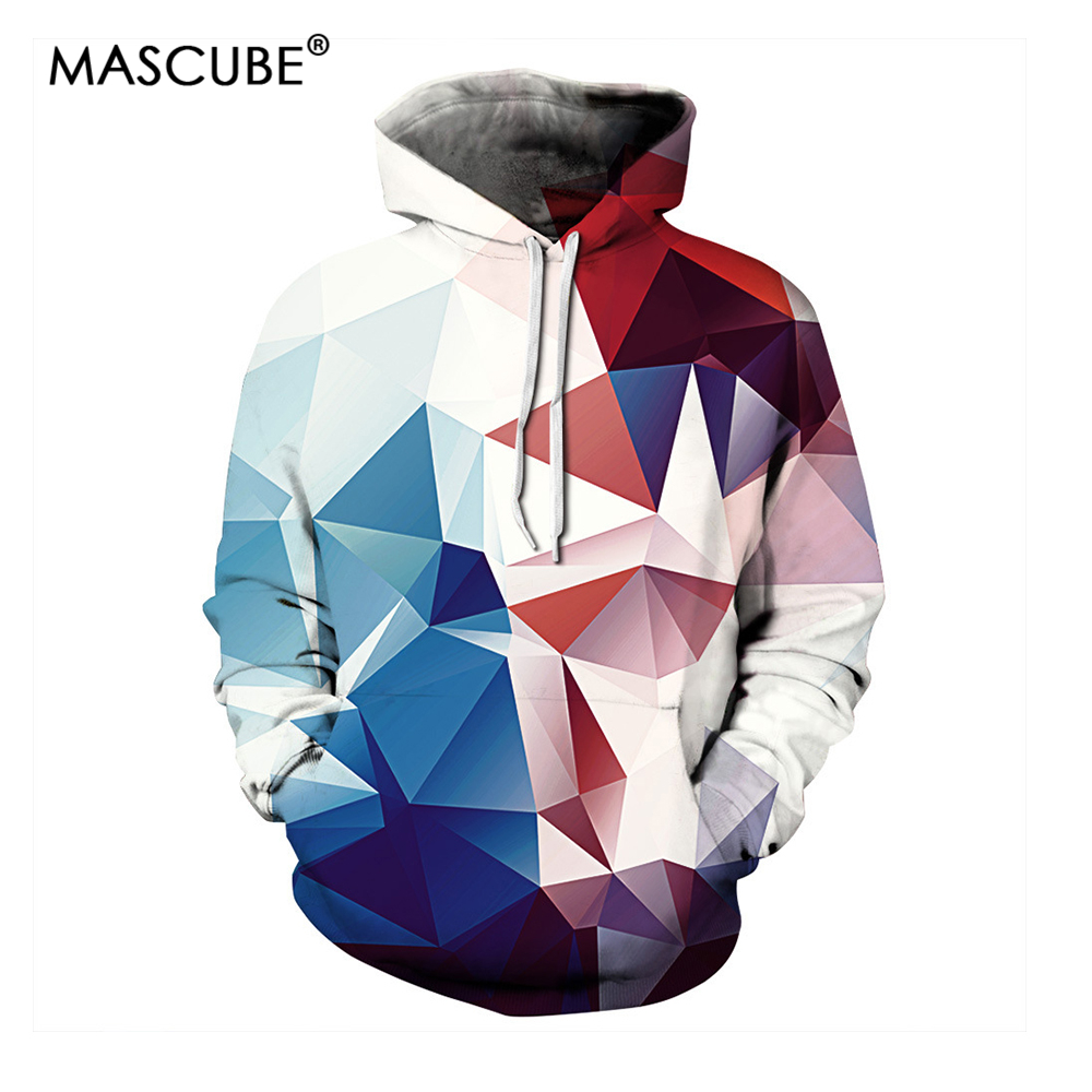 MASCUBE New 3D Hoodies Sweatshirts Men/Women Print Color Blocks Stitching Thin Unisex Hooded Tracksuits Pullovers