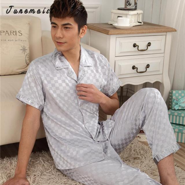 Grandes Regalos Hombres de Satén de Seda Pajamas Set Pijama pijama PIJAMA ropa de Dormir Loungewear Set 3XL Plus Rayas pijama de verano