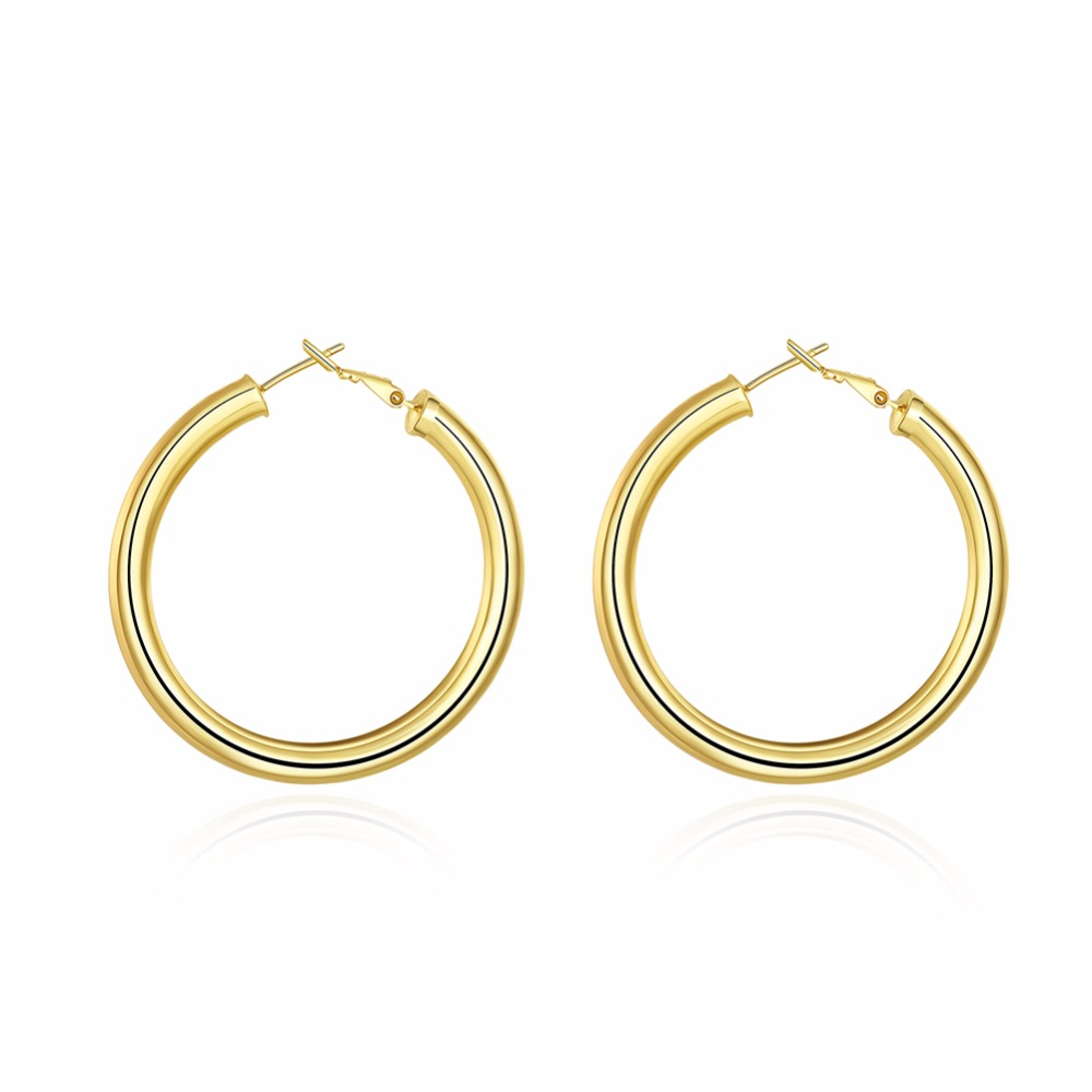 Gold Color Round Circle Hoop Earrings Simple Basketball Waves Fashion Jewelry for Women