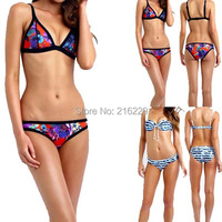 2015 New Womens Shoulder Strap Bandage Bikini Set Neoprene Swimsuit Strappy Swimwear Bathing Suit Retro Triangle