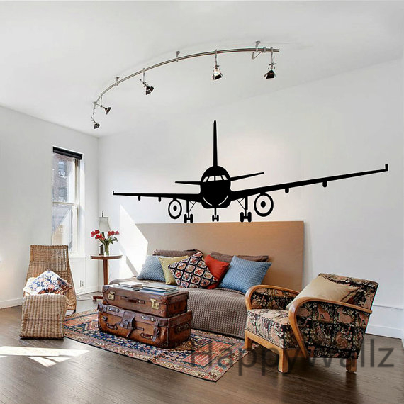 Airplane wall stickers muraux wall decor airplane wall art decal decoration v - Stickers muraux deco ...