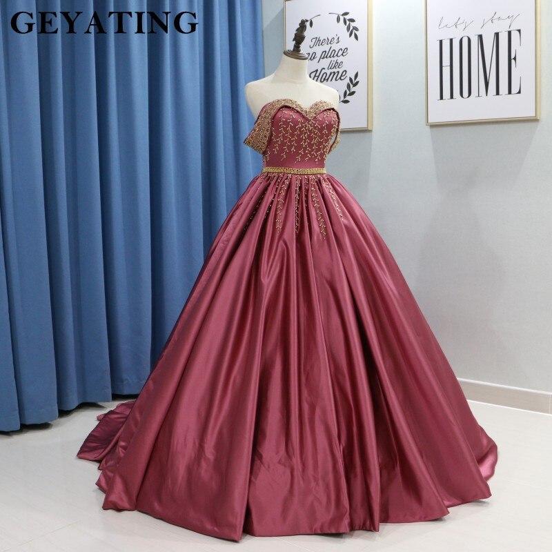 Elegant Off Shoulder Brick Red Ball Gown Wedding Dress 2018 Gothic