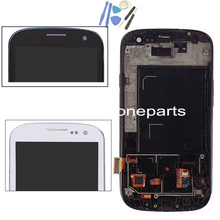 For Samsung for Galaxy S3 i9300 LCD with Touhch screen Digitizer bezel Frame assembly + tool white blue