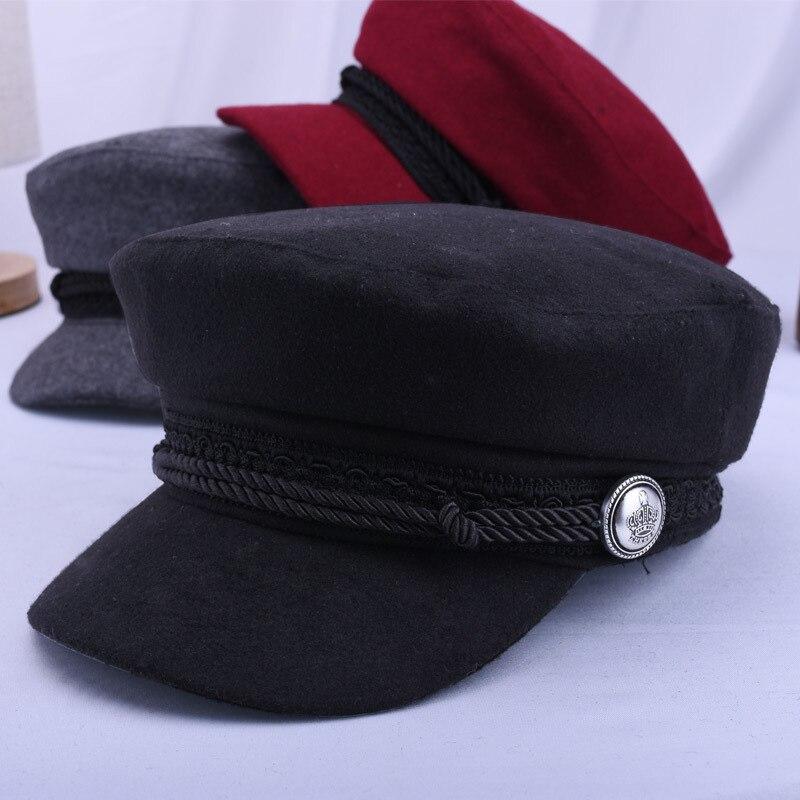 England Women Beret Cap woolen Soft Winter Hat Lady Girl Visor Hat Gorras Wool Baker's Boy Hat  FS99