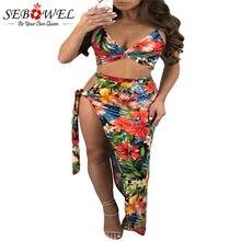 283212a19b250 Sebowel Yaz Kadın Iki Parçalı Set Kıyafetleri Bodycon Etekler Seksi kolsuz  Kırpma Üst 2 Parça Setleri Bandaj Kravat Yan Plaj ete.