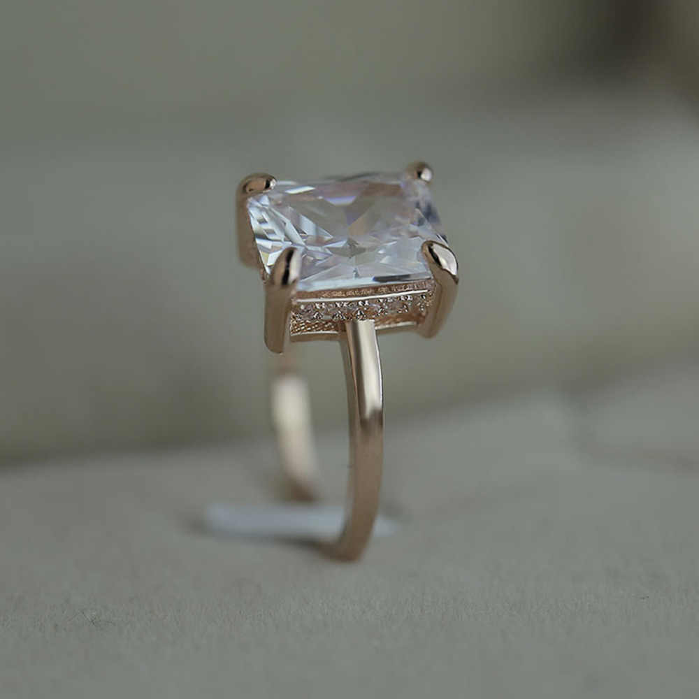 2019 великолепные и щедрый креативная Роза Золотые бриллианты четыре когтя топаз дамы элегантный подарок кольца ювелирные изделия 0418