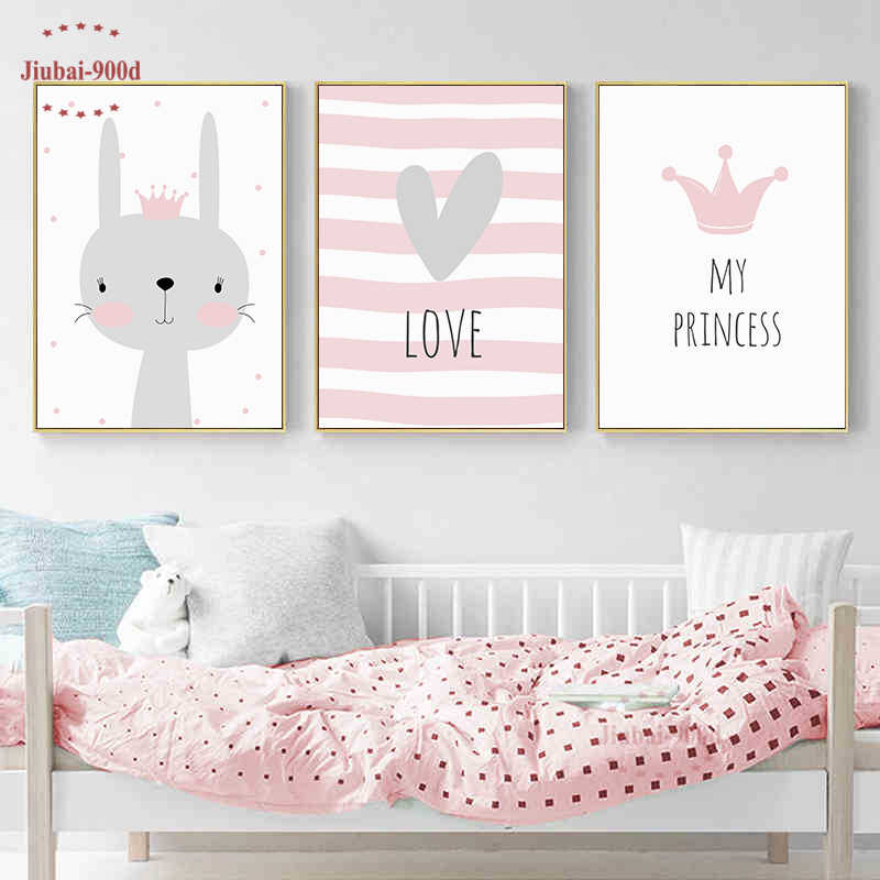 Cartoon Kids Room Decoration Animal Posters and Prints Canvas Painting Nursery Wall Art Decorative Crown Rabbit Picture NUR12