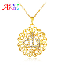 Arabic  gold jewelry allah necklace islamic religious muslim for men women chain arab kolye pendant bijoux crystal necklaces