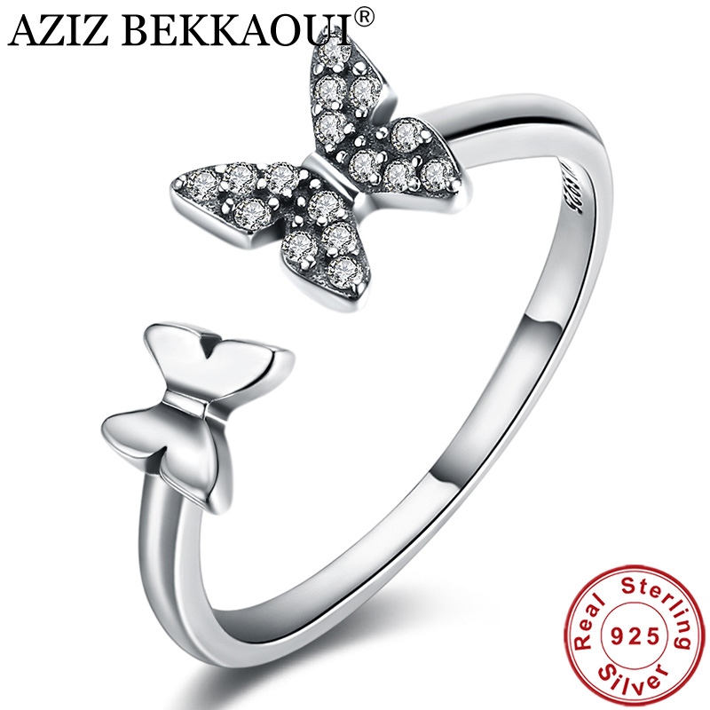 Rings Crystal Engagement Wedding-Jewelry 925-Sterling-Silver Clear AZIZ BEKKAOUI Open-Cuff